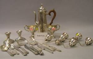 Sterling Silver Demitasse Pot a Creamer and Sugar a Pair of Convertible TwoArm Candelabra and Seventeen Pieces of Assorted Flatware
