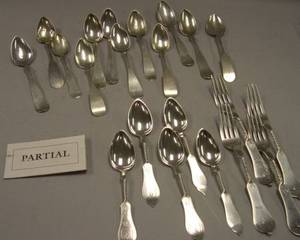 Fortytwo Coin Silver Spoons a Set of Twelve Coin Silver Forks and an Assembled Set of Twelve Sterling Silver Teaspoons