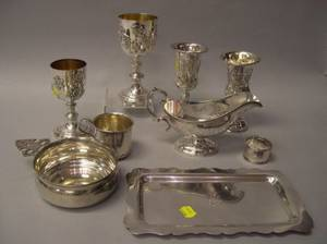 Four Sterling Silver Cups a Small Tray Porringer Childs Cup a Napkin Ring and Gravy Boat
