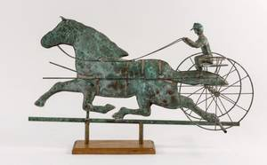 Copper Horse  Rider Weathervane on Wooden Base