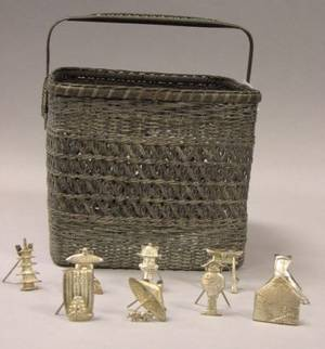 Silver Plated Woven Basket and a Set of Nine Sterling Silver Asian Figural Place Card Holders