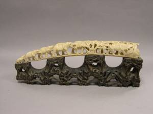 Asian Carved Ivory Elephants Bridge