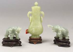 Chinese Carved Jade Covered Vase and a Pair of Carved Jade Elephants