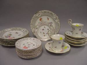 Two Meissen Floral Decorated Porcelain Cups and Six Saucers and a Set of Six Dresden Porcelain Plates and Eight Small Plates