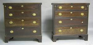 Pair of George III style mahogany bachelors chests