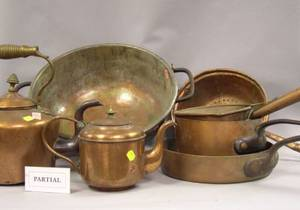 Approximately Twelve Pieces of Assorted Copper Kitchenware