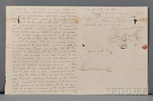 Houston Samuel 17931863 Autograph and Secretarial Letter Signed 1 November 1836