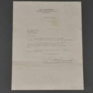 Roosevelt Franklin Delano 18821945 Typed Letter Signed 20 March 1918