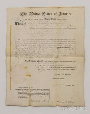 Madison James 17511836 and James Monroe 17581831 Letters Patent Signed 8 January 1816