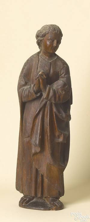German carved pine figure of a saint German early 17th c