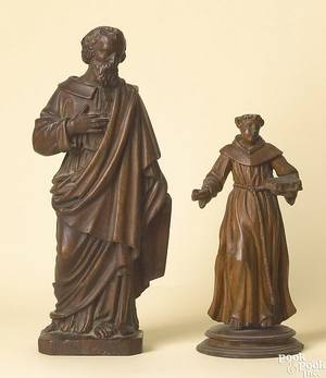 German carved walnut figure of an apostle early 18th c