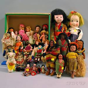 Group of Ethnicdressed Dolls of the World and Little Girl Dolls