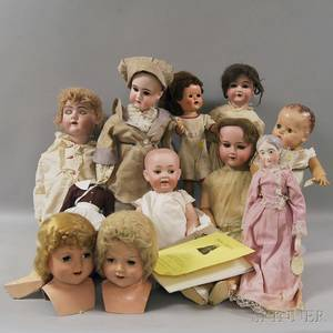 Collection of Assorted Dolls and Doll Parts