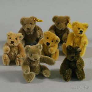 Seven Small Steiff Mohair Teddy Bears