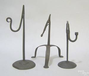 Wrought iron rush light ealry 18th c