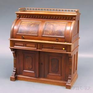 Renaissance Revival Walnut and Burl Veneer Cylindertop Writing Desk