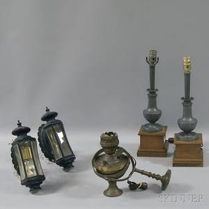 Pair of Coach Lamps Pair of Pewter Lamps and a Brass Gimbaled Ships Oil Lamp