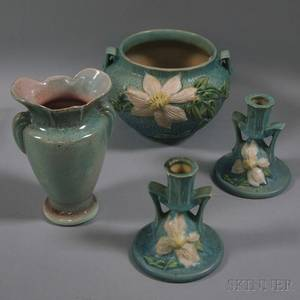 Roseville Pottery Clematis Pattern Jardiniere Pair of Candlesticks and a Gonder Pottery Vase