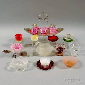 Twelve Art Glass Salts and a Metalmounted Condiment Set