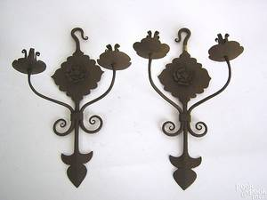 Pair of double arm wrought iron wall sconces 19th c