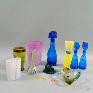 Stephen Nelson Studio Art Glass Vase and Nine Contemporary Art Glass Items