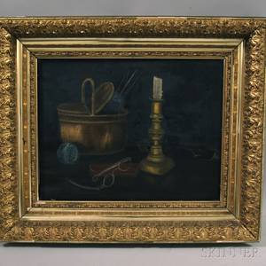 American School 20th Century Still Life with Knitting Basket and Candlestick