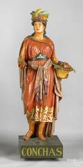 Cast zinc and painted cigar store Indian maiden late 19th c