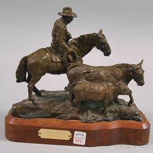 Dan Bates Cast Bronze Back To The Herd Cowboy and Cattle Figural Sculpture