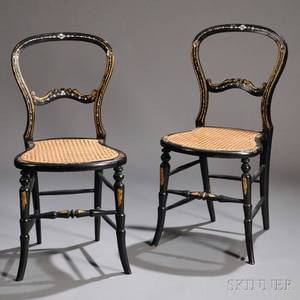 Pair of Victorian Blackpainted Giltdecorated and Motherofpearlinlaid Cane Seat Side Chairs