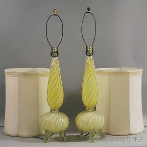 Pair of Murano Art Glass Table Lamps