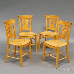 Set of Four Carved Continental Side Chairs