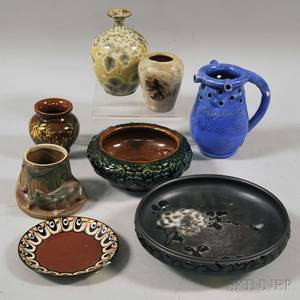 Eight Assorted Small Art Pottery Items