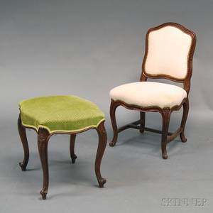 Louis XVstyle Carved Mahogany and Upholstered Slipper Chair and Footstool