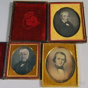 Three Daguerreotypes of Painted Portraits of Gentlemen