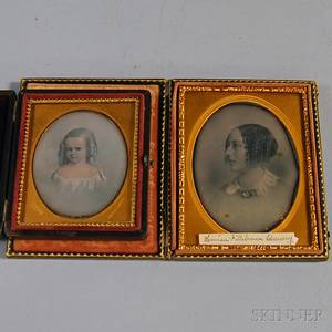 Two Daguerreotypes of Painted Portraits of a Young Woman and a Young Child