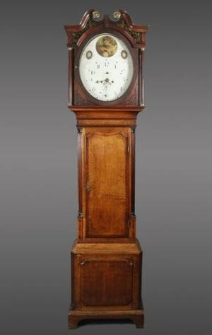 William Marfton Oak Cased Grandfather Clock