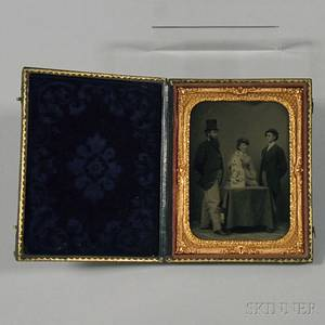 Quarterplate Tintype Group of Three Figures with a Rogers Group Statue