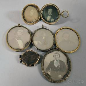 Six Giltbrass Cases with Seven Daguerreotype Portraits