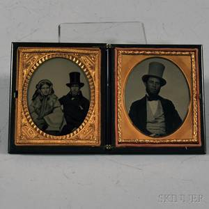 Double Sixthplate Ambrotype Portraits of a Couple and a Man Wearing a Top Hat