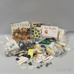 Collection of Buttons and Two Books Relating to Button Collecting
