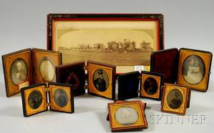 Eight Cased Early Photographic Portraits and a Framed Panoramic Photographic View of State Street Springfield Massachusetts