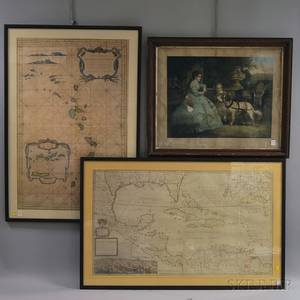 Two Framed Reproduction Maps and a Framed Victorian Print