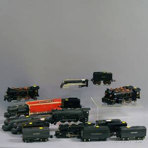Sixteen Lionel O Gauge Model Train Engines and Cars