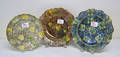 Three Whieldon type creamware 19th c plates in various sponged colored patterns