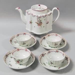 Newhall Porcelain Teapot and Four Porcelain Cups and Saucers with Floral Decoration