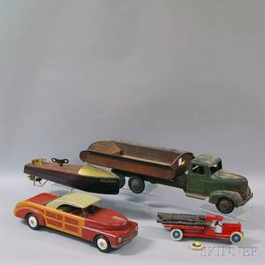 Four Painted Wood and Pressed Metal Toys