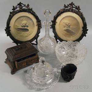 Three Colorless Cut Glass Items and Four Carved Wooden Items
