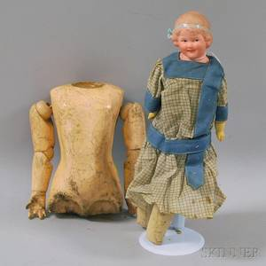 Heubach Bisque Shoulder Head Smiling Character Doll and German Composition Partial Body