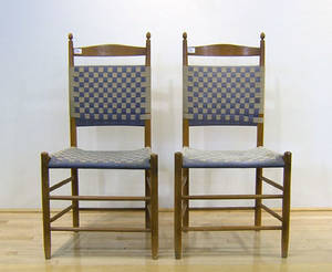 Pair of shaker side chairs with webbed seat and back