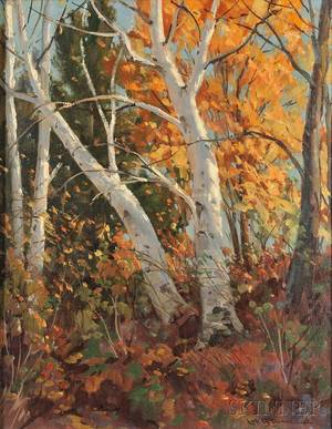 Leo B Blake American 18871976 Our Berkshire Birches